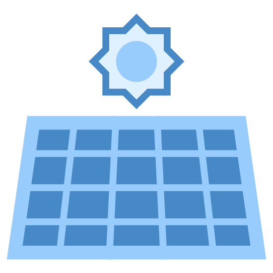 Solar Panel icon. A titled square is based upon a stand. Inside the square is a rectangular grid of eight cells, four horizontally and two vertically. Behind the square, a sun cartoon with a circle middle and pointy rays surrounding it appears slightly and you can see only the top half as the bottom is hidden.