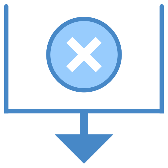 Ordina per Data di chiusura icon. This is a picture of a box that is completely open on top with an X in the center of it. on the bottom of the box is an arrow that is pointing downwards