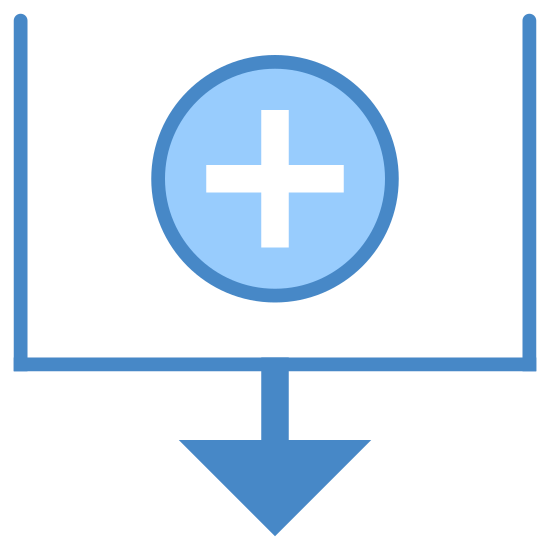 Sort By Creation Date icon. There is a square shape, but it is missing the top line in the middle of this open shape is a plus sign, and on the bottom line, in the middle, there is an arrow coming off of it pointing downwards.