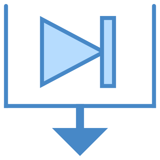 Sort By End Date icon. This is a picture of a box that has no top; it is completely open. inside the box is a triangle that is pointing to the right hand side attached to a vertical line. underneath the box is a downward pointing arrow