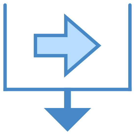 Sort By Follow Up Date icon. This is a picture of a box with it's top completely gone and open. in the center of the box is an arrow that is pointing to the right side. on the bottom of the box is an arrow pointing downwards