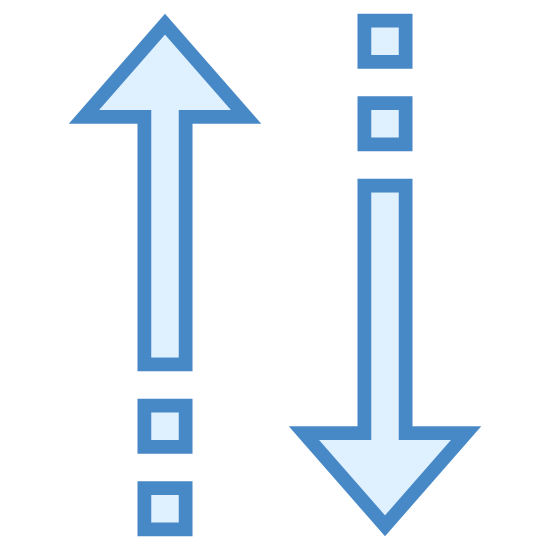 strzałki do sortowania icon. The icon has two vertical arrows facing in opposite directions. The one on the left is pointing up and the one on the right is pointing down. Each arrow has two dots located behind them at the tail.
