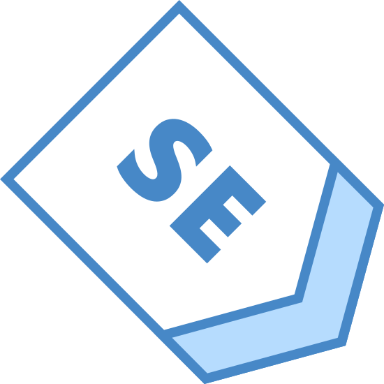 South East icon. This icon is the direction for South East.  The logo has an arrow that is pointed downward and within the arrow you will see the capital letter S and a capital letter E with the arrow.  These two letters stand for south east.