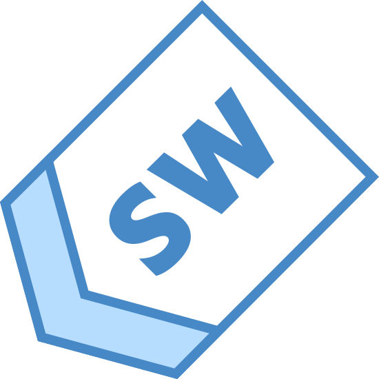 South West icon. It's a logo of South West. It is a sign with an arrow pointed towards the south west with the capital letters S, and W inside of it. It is a sign pointing south west.