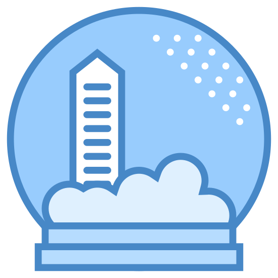 Souvenirs icon. It's a logo of a snow globe image. The pedestal is two long very thin rectangles with the longer one on bottom on the shorter one on top, then on top of the pedestal is an almost complete circle connecting to the top rectangle. Inside the circle is a simple image of a tall house or barn or silo with some shrubbery or bushes or forest behind it and dots on the upper right part of the circle that seem to represent the snow of the snow globe.