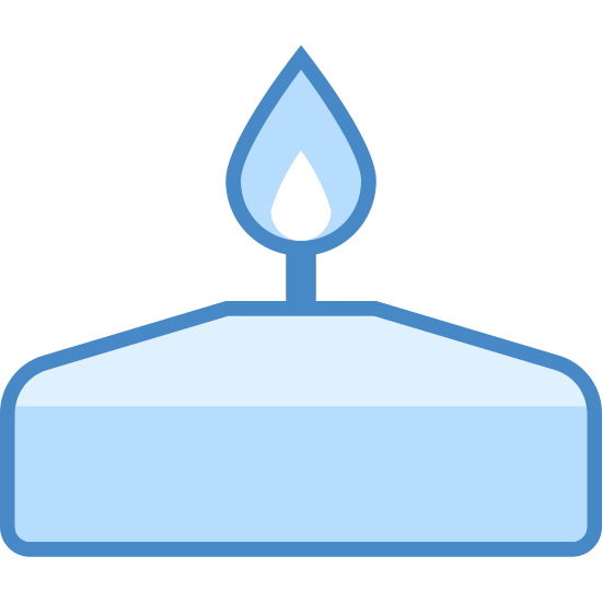 Bougie de Spa icon. The icon is a simplified depiction of a short candle, wide base quickly tapering to a smaller, flat surface. From this surface, protrudes a short wick, above which sits a flame symbol, implying that the wick is lit. The icon represents an aromatherapy candle, like one used at a spa.