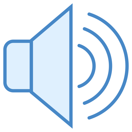 スピーカー icon. A speaker icon is represented with a megaphone shaped with a big opening for the sound to come out. The sound waves will be represented with lines that are shown in half circle shapes that are smaller closer to the megaphone and larger as it gets further away.