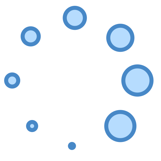 Spinner icon. A group of circles are aligned in the shape of a bigger circle. The smallest circle is at the center bottom and in a clockwise direction each circle gets slightly bigger.