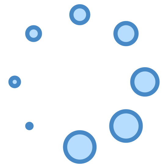 Loader icon. The image is a circle made of circles. The circles vary in size. Starting from the bottom left is the smallest circle that looks like a dot. Going clockwise, the circles get bigger until the biggest one is right next to the dot at the bottom.