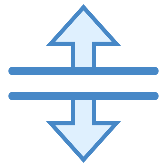 Split Vertical icon. This icon consists of two parallel lines running near each other horizontally. Each line has another line attached at a ninety degree angle with an arrow point formed on the end. One line is pointing up, the other is pointing down.