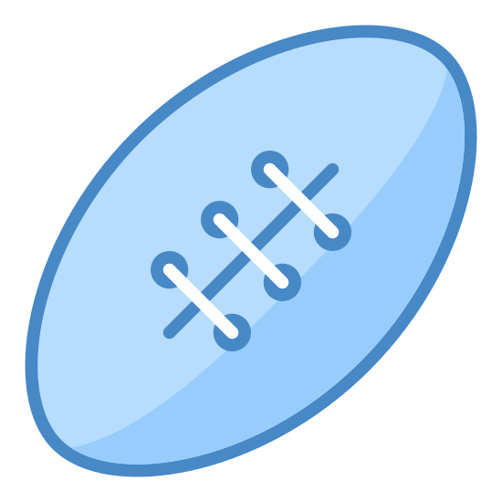 Sport icon. It's the drawing of a football.  The football is diagonal as if it has been thrown.  The outline of the football is an oval, and there is a line inside of the oval with hash marks across it to indicate the threads of the football.