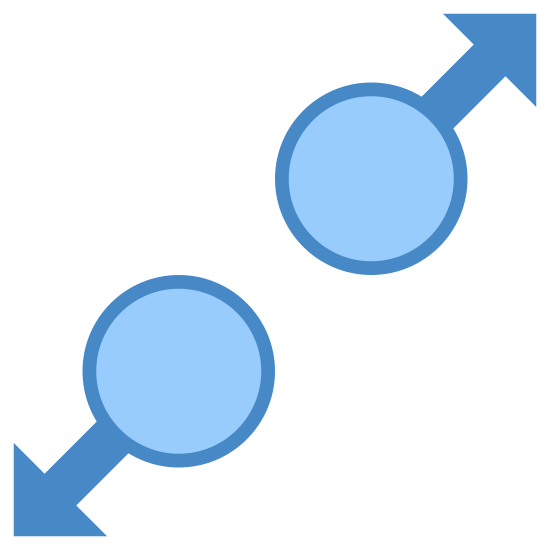 Gest rozszerz icon. Consider a circle to which an arrow mark is attached. There will be two circles separated by some distance to for which one arrow is towards the north-east direction and other is towards exactly opposite to it on the adjacent circle pointing towards south west direction. These two circles lie on an imaginary line which is at 45 degrees to the horizontal.