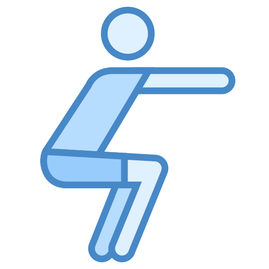 Przysiady icon. This looks like a person doing squats. They have their legs bent and they are pointing their arms to the right.