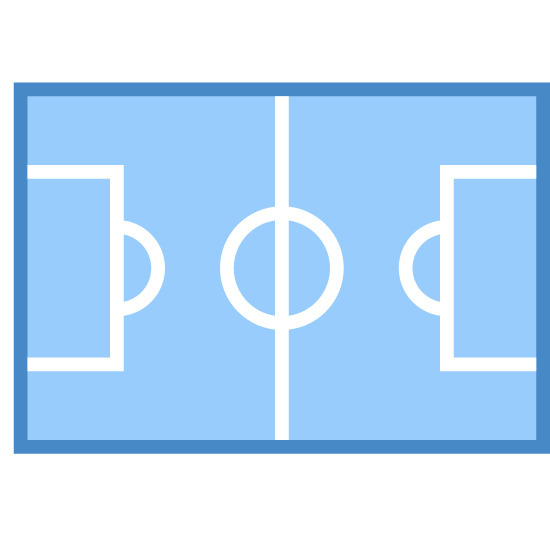Stadium icon. This icon looks like a diagonal soccer field.  The icon overall is a diagonally oriented rectangle with two small rectangles on each short side and a line bisecting the rectangle with a small circle at its midpoint.