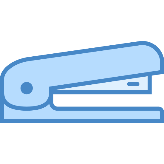 Stapler icon. It's an icon for a stapler. The image is of a stapler facing to the right. The base is a rounded rectangle and the top shows the metal portion underneath the top poking out.