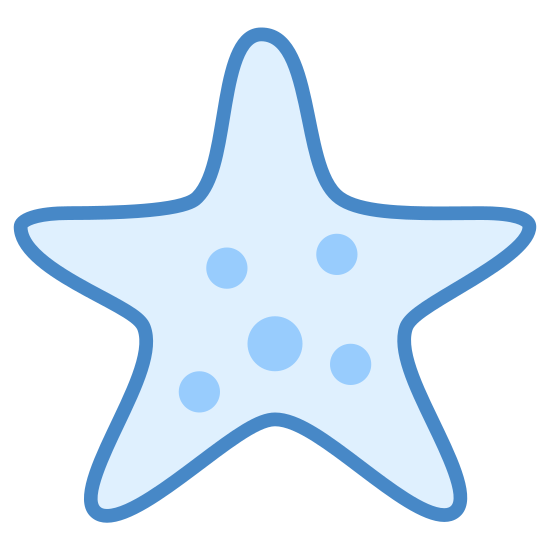 Estrela do Mar icon. The icon is shaped like a 5 sided star. There are 4 dots inside of the shape. The slightly bigger dot is located at the center, the other three are located at the left, right, and bottom right sides of the one at the center.