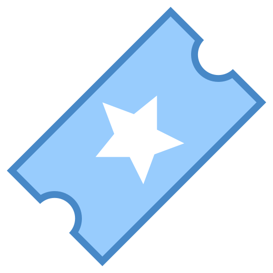 Ulubiony bilet icon. A starred ticket is an icon of a rectangular shaped object, but the smaller ends of the rectangle there are half circle cut outs Inside the rectangle there is a dash line to show the ticket needs to be tear, and the center of the ticket there will be a 5 point start.