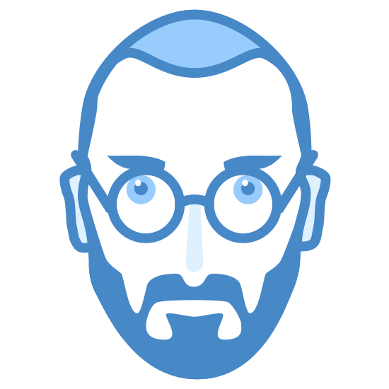 Steve Jobs icon. The icon is the frontal view of the face of an old man with a short buzz cut. He is wearing glasses, has his eyes open and has a full mustache that covers the entire bottom and side of his face. The mustache appears to be neatly trimmed.