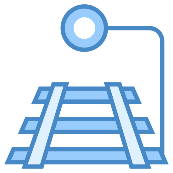 Stop Train icon. The icon is comprised of a short section of train tracks with a semaphore directing oncoming trains to stop pointing out from the right. There are three planks over which rails are laid and the semaphore is circle-shaped. The icon represents a train being commanded to a stop.