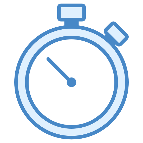 Stopwatch icon. A stopwatch is something that ticks and is handheld. It is circular with a little timer in the right so that you can click it and start + stop time. It has hands that keep track of how many seconds it has been.
