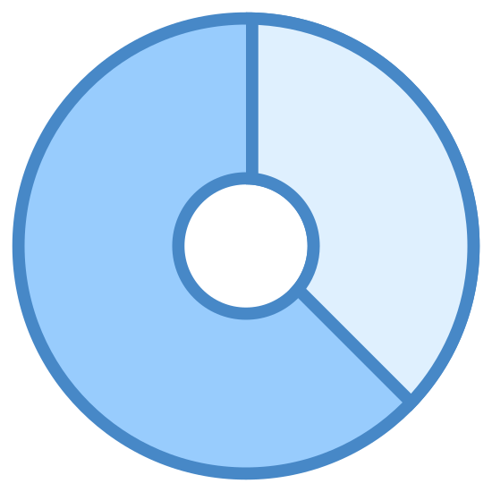Pamięć masowa icon. The icon is a logo for storage. The icon is circular in shape, and has 2 dashes on the edge of the circle. The first dash is located in the 12 o clock position, the second dash is in the 5 o clock position.
