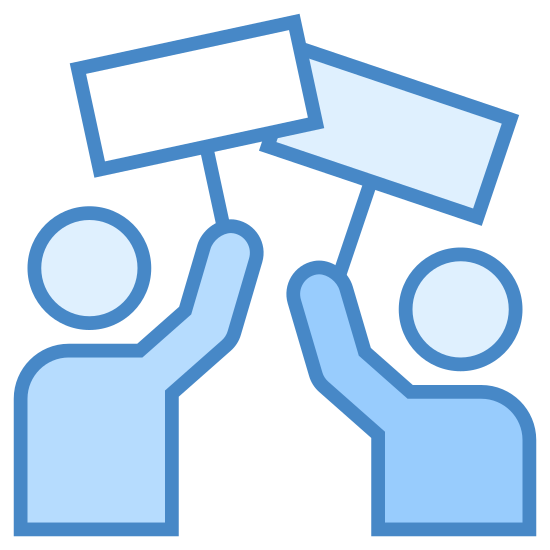 Strike icon. Its a logo of two generic people figures holding blank signs over their heads. It the people have no faces or details and are only a silhouette. The signs are blank rectangles one per person held up by a stick.
