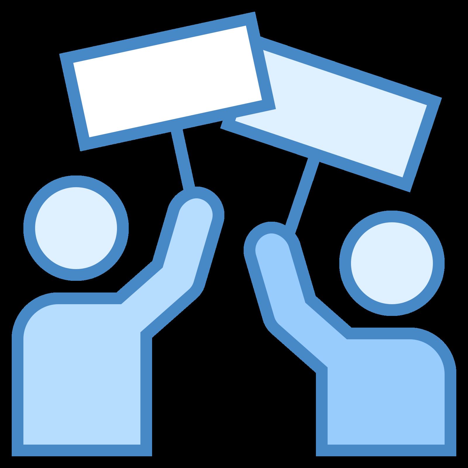 罢工 icon. Its a logo of two generic people figures holding blank signs over their heads. It the people have no faces or details and are only a silhouette. The signs are blank rectangles one per person held up by a stick.