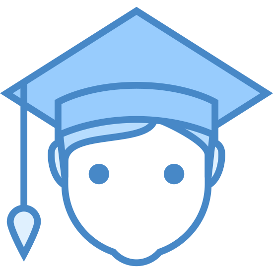 Student Male icon. This is a picture of a man's face with no features, just ears. he has a square shaped graduation cap on with a tassle danging from the corner of it.