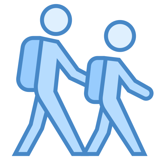 Studenci icon. The outline of two people walking. The person in front is slightly smaller and they are both wearing backpacks. They look exactly the same except one is a little shorter. It looks like they are walking to school.