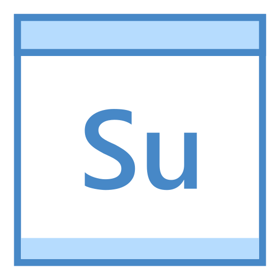 Niedziela icon. There is a square calendar box with a header and two pins at the top. Inside the square is an uppercase S and lowercase u, for Sunday.