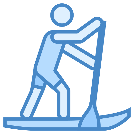 SUP icon. This is a drawing of a man by himself on a boat. He appears to be moving from left to right and has a paddle in his hands which he is using.