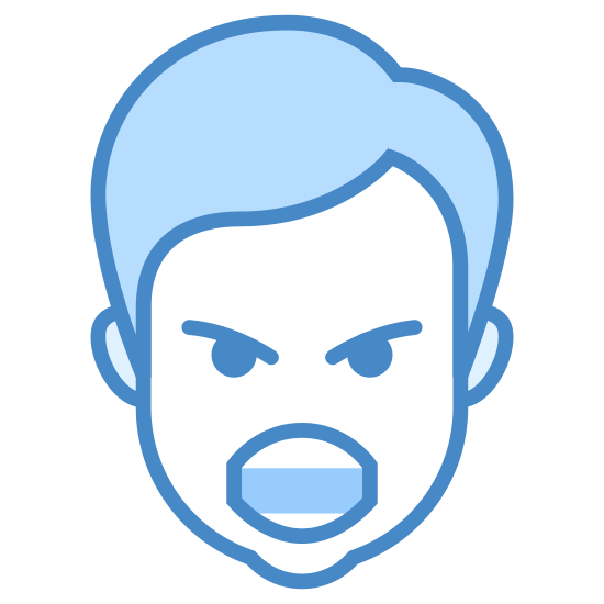 Klnący Mężczyzna icon. It's a logo of Swearing Male reduced to an image of a an angry face with it's mouth opened and words being propelled forward. It is an angry male shouting his words toward his enemy.