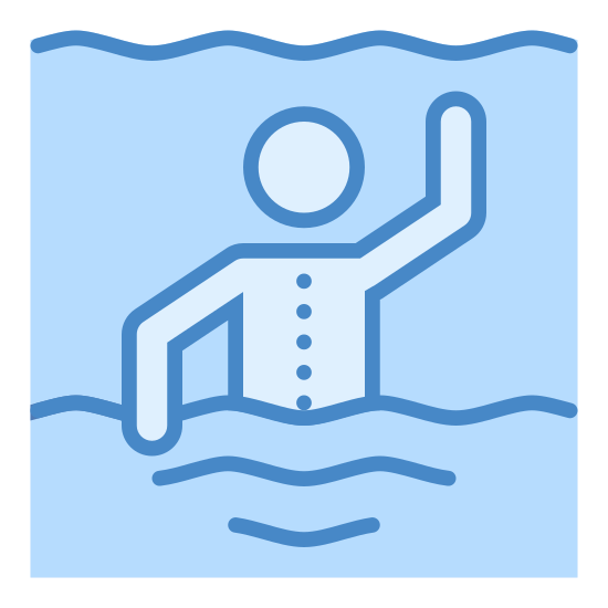 Pływanie, widok od tyłu icon. This icon is depicting a person swimming. The only the top portion of the person is shown with three wavy lines beneath it to signify water. One of the figure's arms is raised whereas the other one is facing down.
