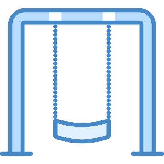 Swingset icon. There are two parallel lines that form three sides of a rectangle with the bottom of the rectangle cut short. There are two parallel lines pointing down from the top of the rectangle and two curved lines connect the two lines at the bottom.
