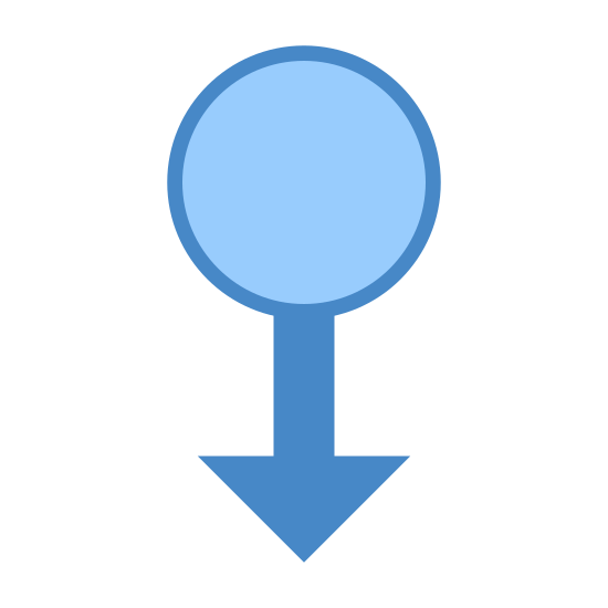 "Przesuń w dół icon. The ""swipe down"" symbol here consists of a circle, with a straight line extending down from its lower half in the middle, with two diagonal, upward-reaching lines extending upwards from the end of the line. It is a circle with a downward-pointing arrow extending from it."