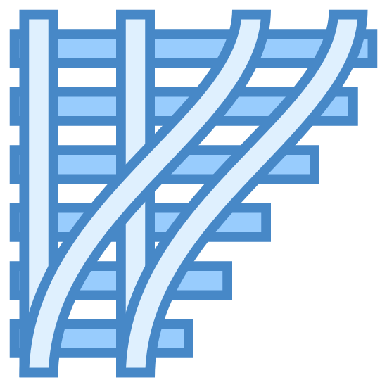 Przełącz tory icon. This is a image of two railroad tracks coming together. One of the tracks are vertical, and the other set of tracks are curved and are beginning to merge with the vertical set of tracks.