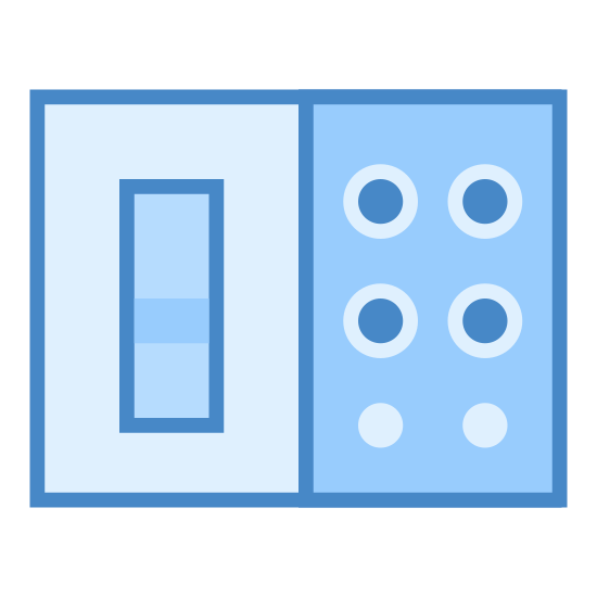 Switchboard icon. This is a picture of a rectangular box. one the left side is a canister looking object and on the right side are three dots in the shape of a triangle. there is a line going down the middle of the box separating the two.