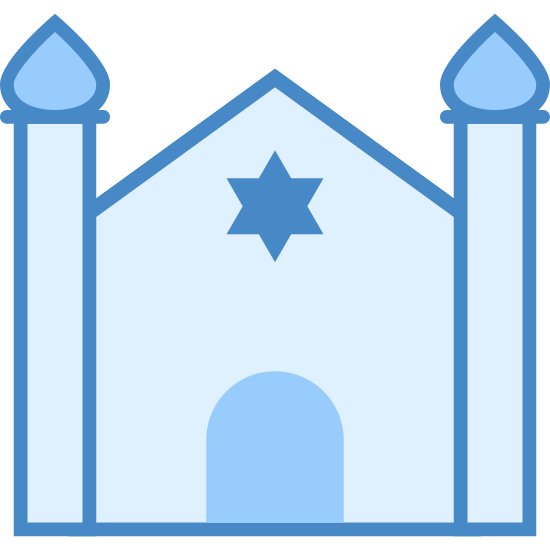 Synagogue icon. This particular icon has a triangular shaped top with two long rectangles next to it with teardrop tops.  It also has a black start shape in the middle that looks like a window.