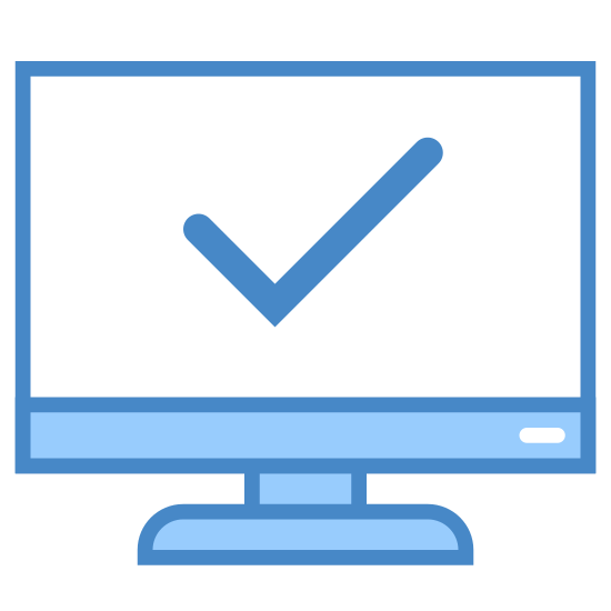Systeminformation icon. The logo is simply a computer monitor screen with a large checkmark in the center of the screen. The check mark takes up the whole screen space of the monitor in the logo.