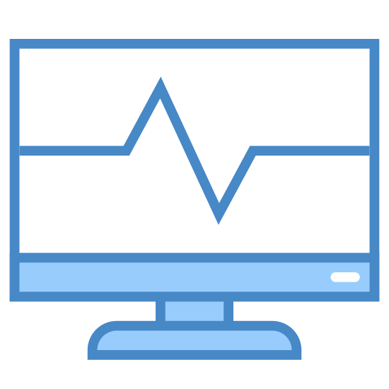 Zadanie systemowe icon. There is a square computer monitor included a stand at the bottom. The monitor has a circular power button on the bottom right part of the square frame. On the screen part is a line similar to an EKG line going across horizontally, moving up then down then leveling out near the end on the right.