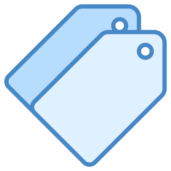 Tagi icon. It's a logo for Icon Tags reduced to two clothing tags stacked on each other. The clothing tags have no writing on them, but they both have small holes in them.