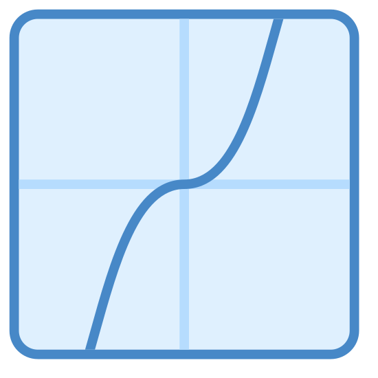 Tangens icon. This looks like a curvy line underneath a straight line. The straight line is slightly at a slant, going from the bottom left to the top right. The lines are intersecting.
