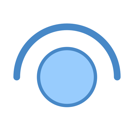 Tap icon. It's a circle with a bow above it. The bow is pointing downwards and is wrapped around the circle about half way. It kind of looks like an eye with an eye brow.