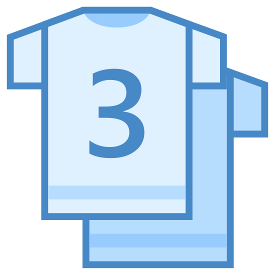Teams icon. The icon is a picture of two shirts. The shirts appear to be team jerseys with a number 3 on the first one. The icon is used to describe teams.