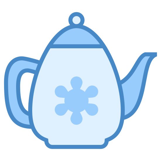 Czajnik icon. This is a picture of a simple tea kettle. It has a small handle and a spout. There is a cover on top with a small ball for handling it. It doesn't appear to have any drawing or sketching on the side of it