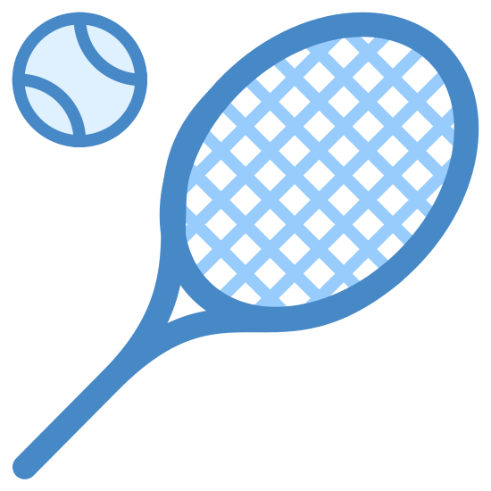 Tennis Racquet icon. This is a complex icon that is meant to represent a tennis racket and tennis ball. The ball is hovering just above the racket and is composed of a small circle with two curved lines in the middle. The racket is composed of a smaller oval inside of a larger one connected to a stylized version of a handle.