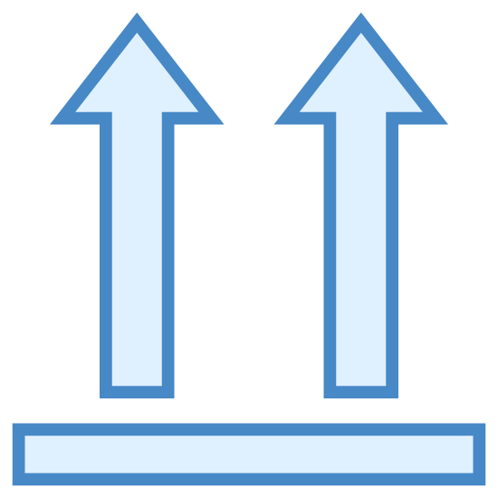 This Way Up icon. It is a logo showing that the direction is up.  It has a long, rectangular shape that looks like a beam.  Two arrows are situated on the top of the beam that are pointing up.
