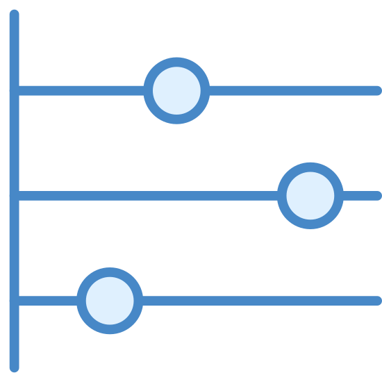 Timeline icon. The Timeline icon is comprised of four lines and three circles. Three horizontal lines are evenly spaced and extend from the right side of one vertical line. On the top horizontal line, a small circle is placed just left of the middle point. On the second line, the circle is near the right edge, and on the third line the circle is on the left end, closest to the vertical line.