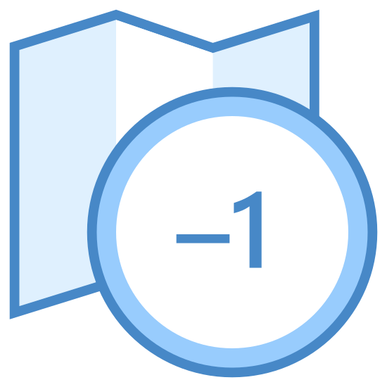 Timezone -1 icon. This icon represents timezone -1. It is a ruffled folded rectangle shape with lots of dots on it. In the right hand bottom corner is a fairly large circle with -1 in the center. Both the top and bottom have jagged folded sides.