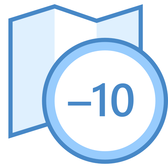 "Timezone +10 icon. This logo features an unfolded road map with a small circle overlapping the bottom right corner of the map. Inside the circle is displayed ""+10"", indicating the amount of hours to add to get the timezone."
